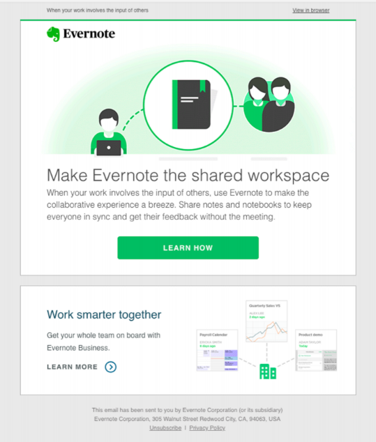 SaaS customer onboarding elements: Additional email from Evernote