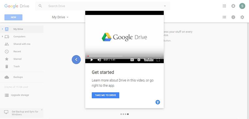 SaaS customer onboarding elements: Google Drive tutorial