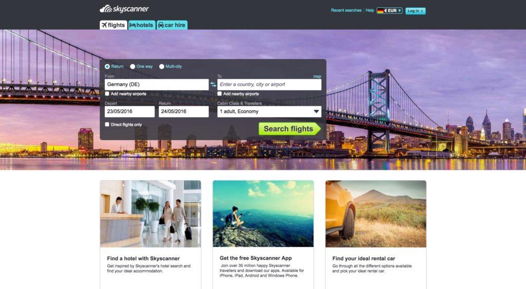 Skyscanner homepage