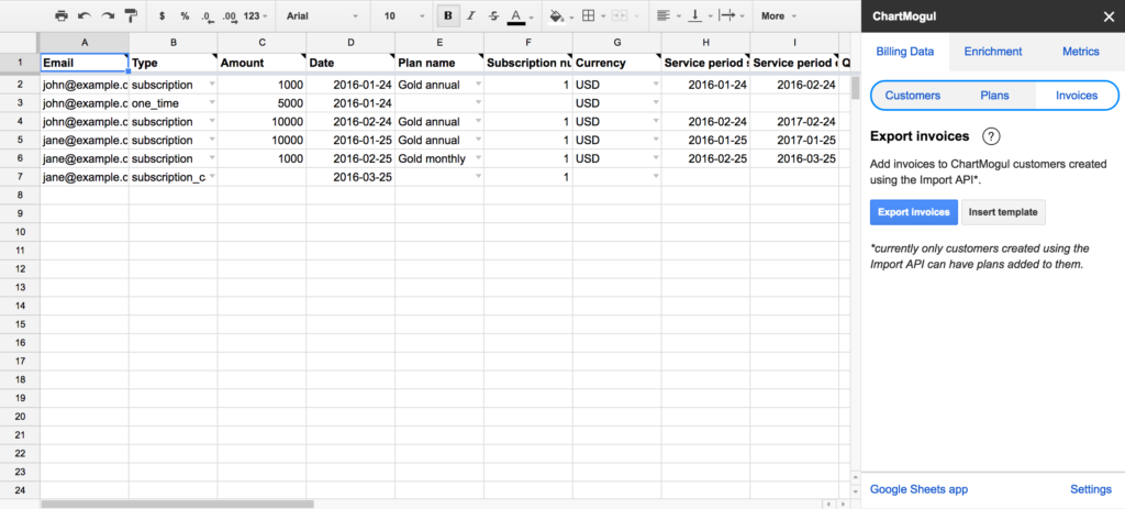 Google Sheets Invoices