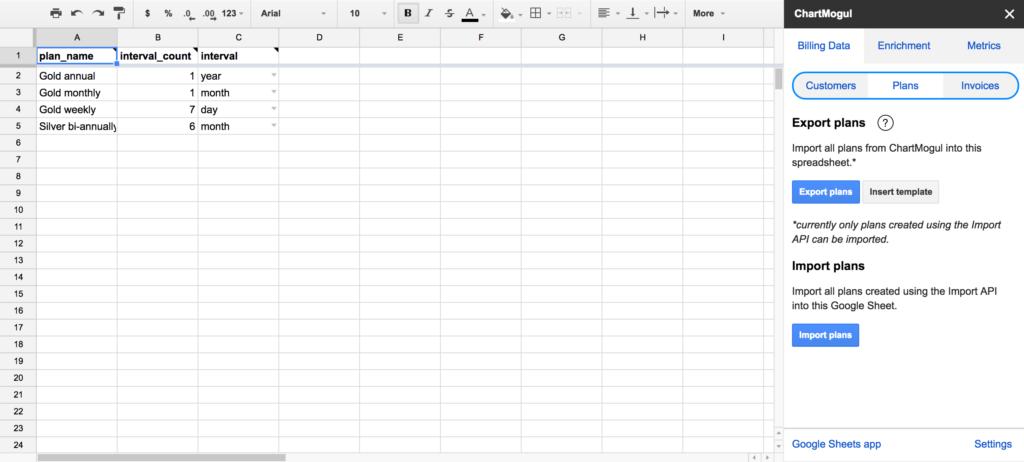 Google Sheets Plans