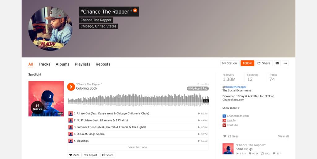 Chance The Rapper SoundCloud profile