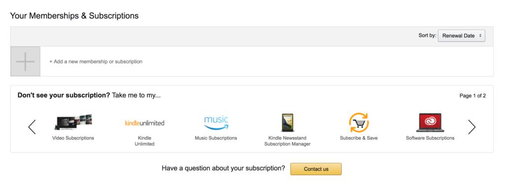 Manage amazon subscriptions