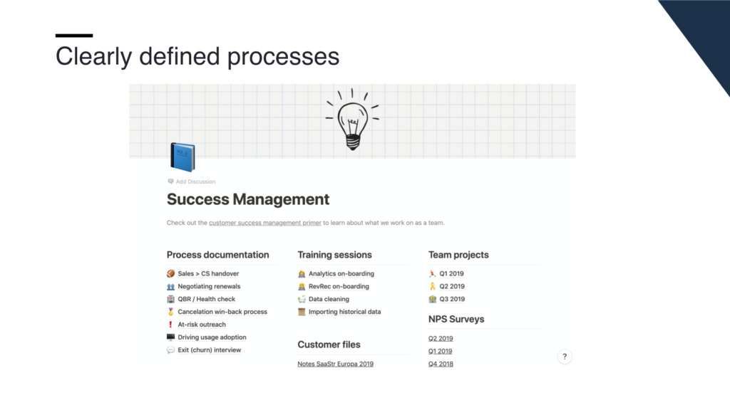 Our Notion board captures every piece of knowledge around customer success.