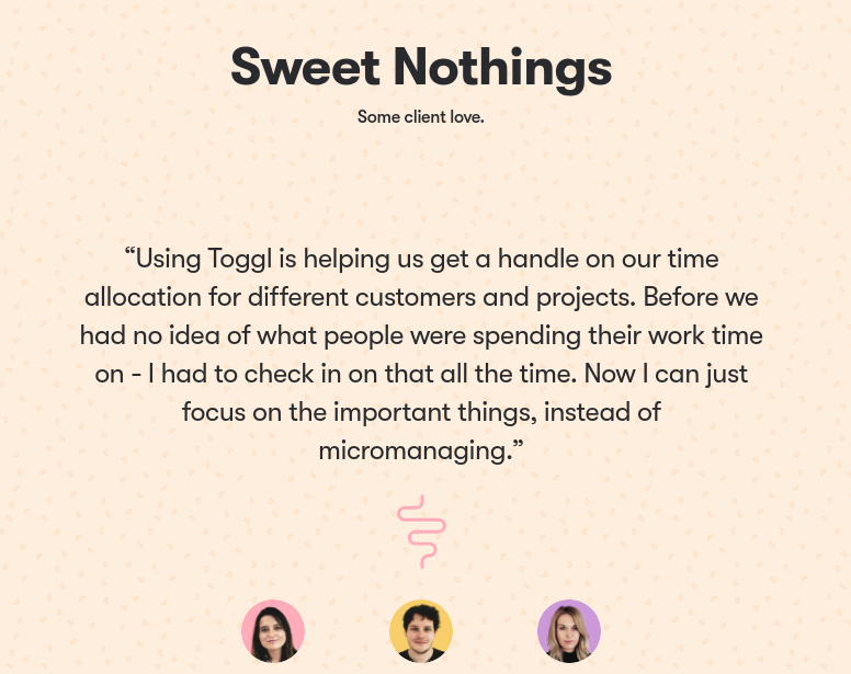 Toggl tells a story with their testimonials.