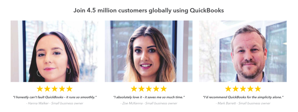 Quickbooks testimonials are tailored to their target demographic