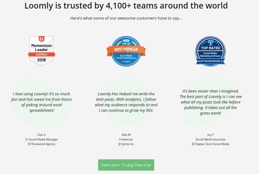 Loomly places client testimonials on landing pages
