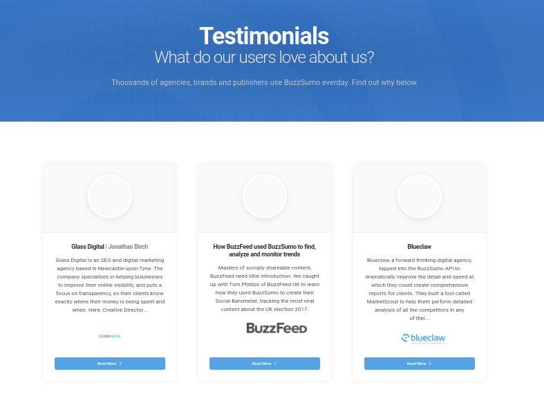 Buzzsumo has a dedicated page for testimonials