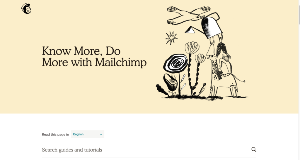 MailChimp Knowledge base homepage