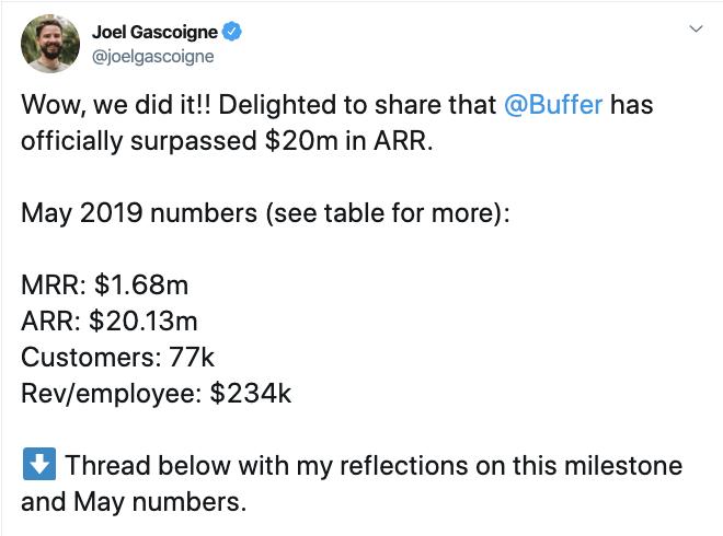 Joel's announcement on Twitter on reaching $20m in ARR