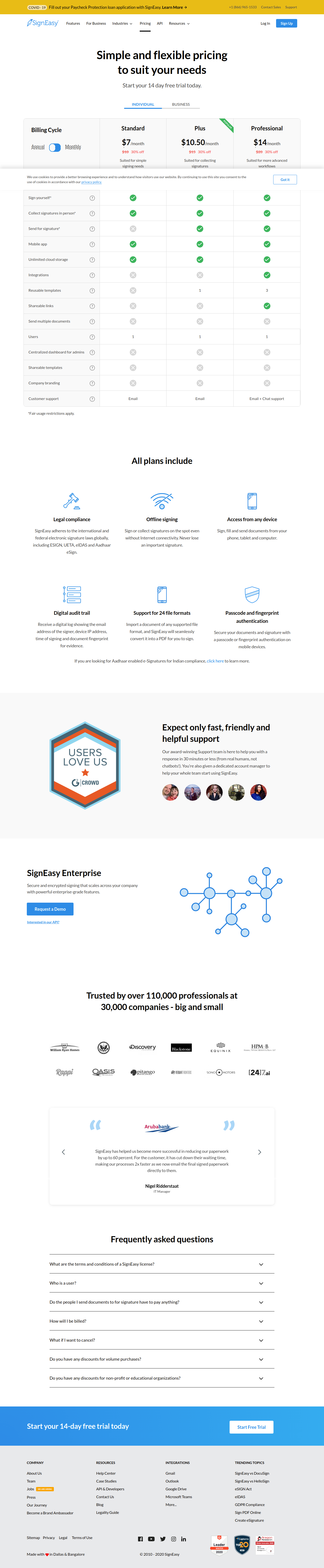 SignEasy pricing page