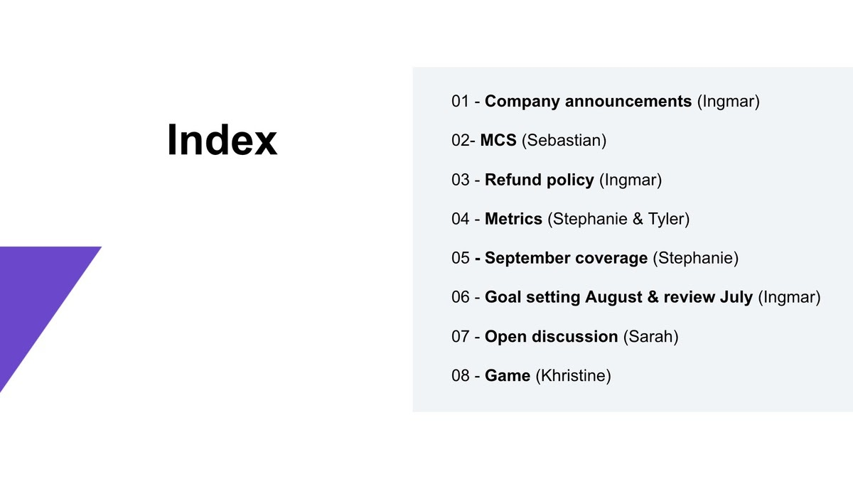 Customer success team: An example of the agenda of a monthly roundup session