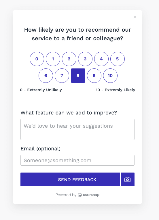 Example of an NPS survey