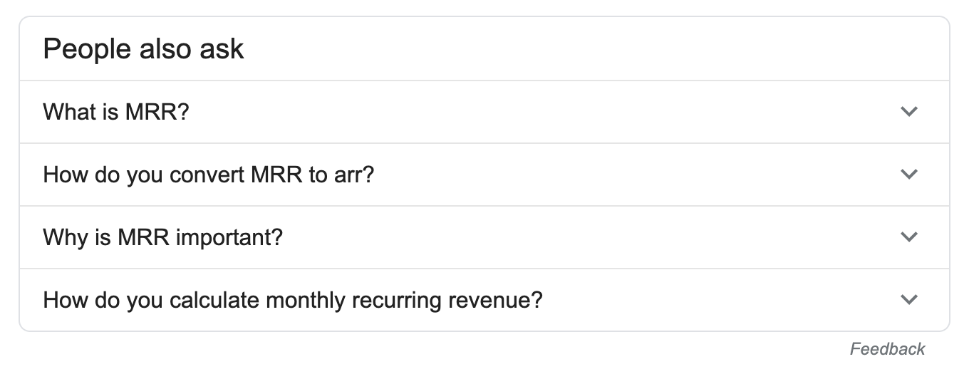 Google questions about MRR.