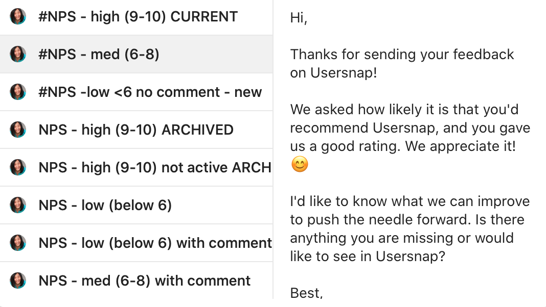 Following up with customized emails is key for collecting user feedback