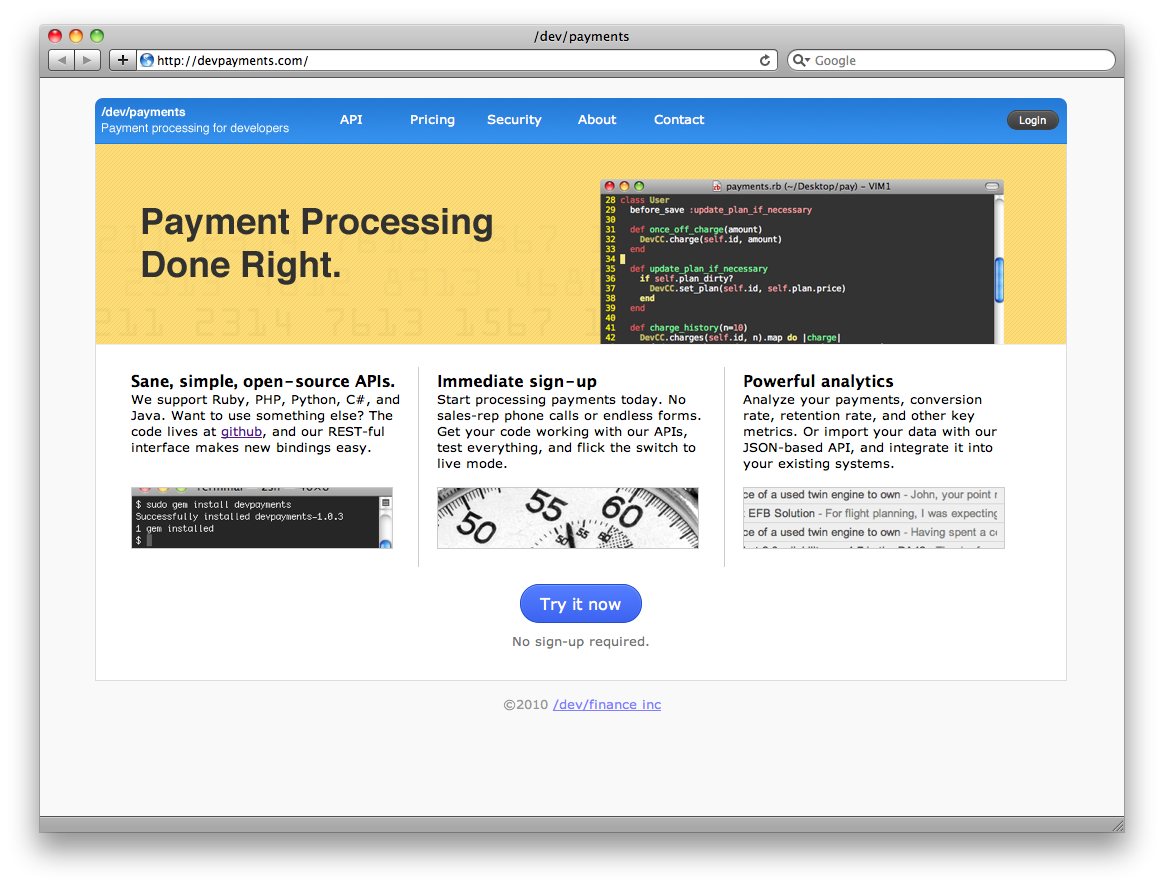 One of the early versions of Stripe's homepage