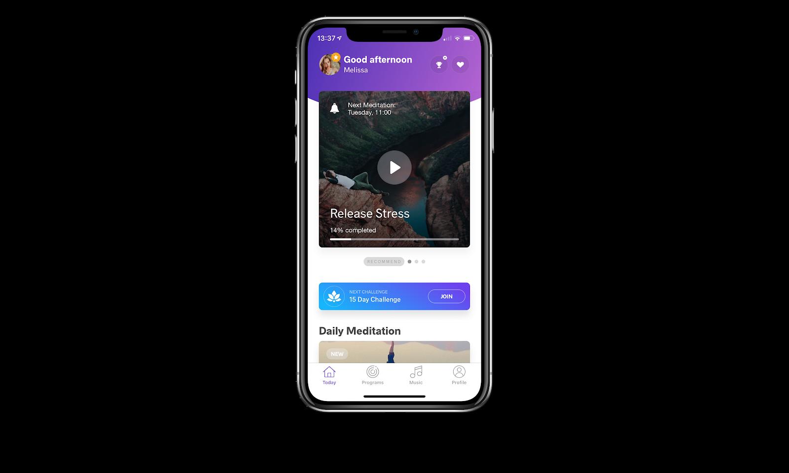 Meditopia iOS app homescreen