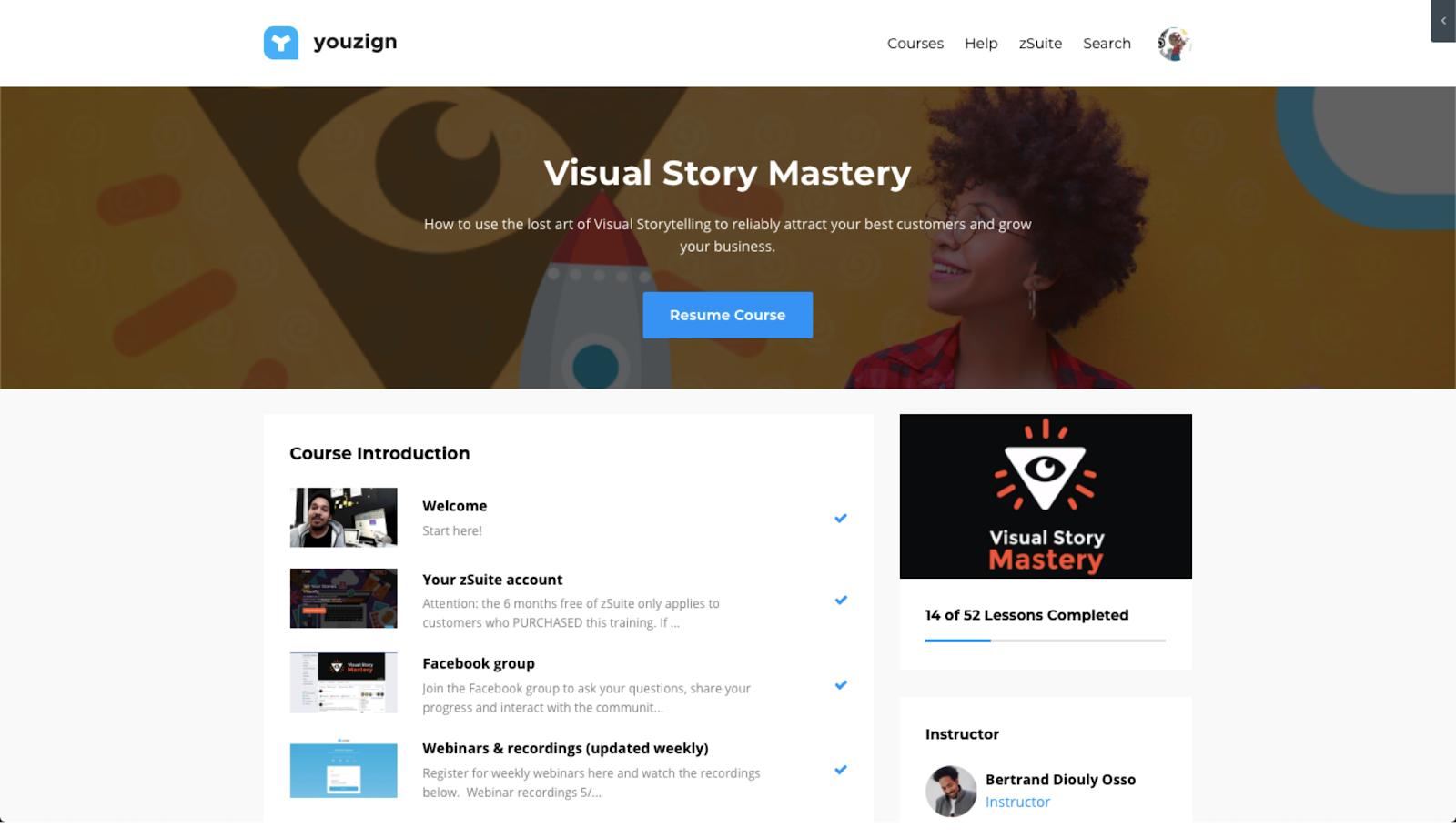 Visual Story Mastery homepage