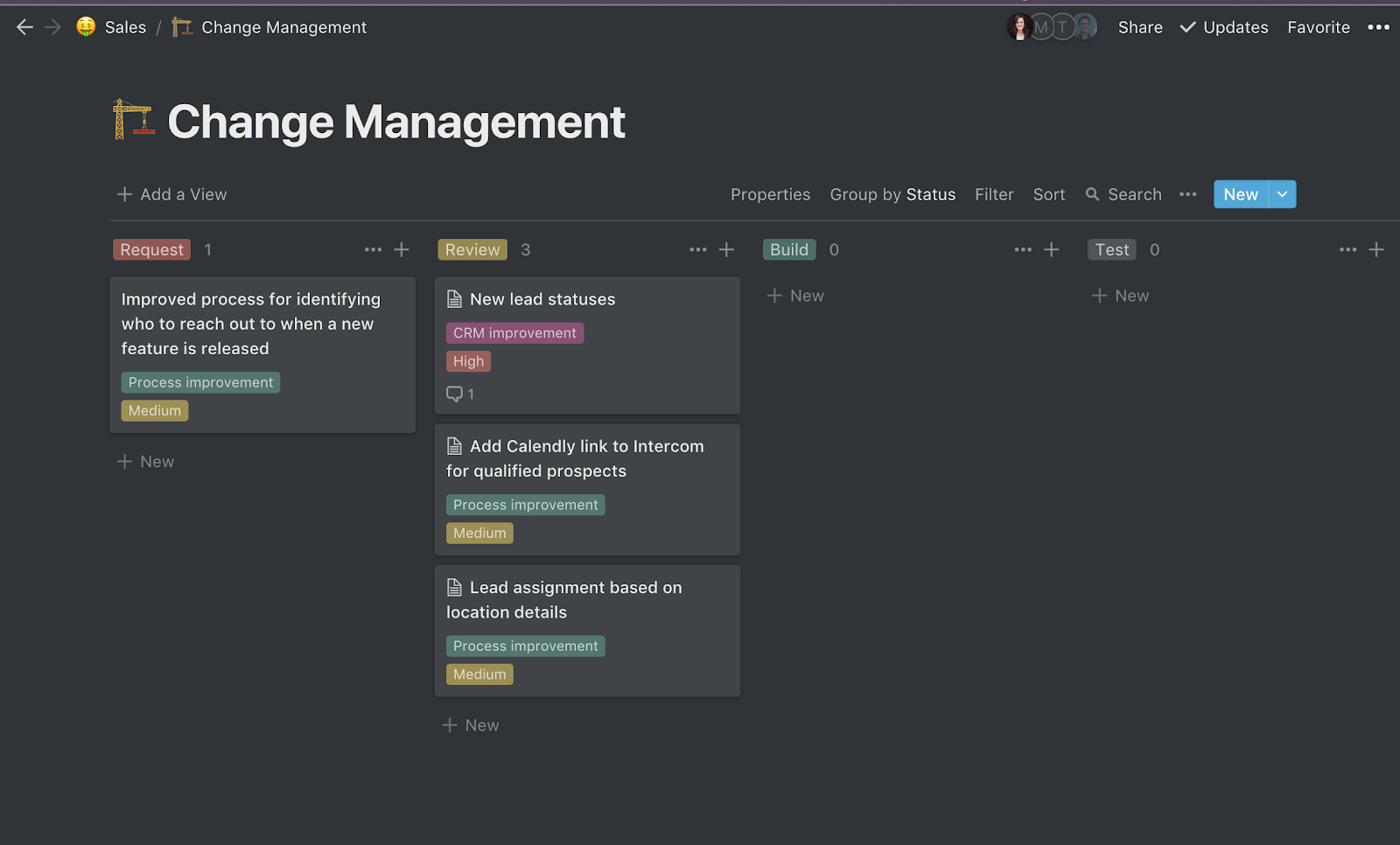 Change management board example