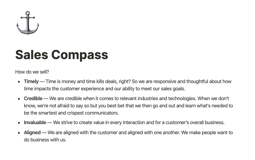 ChartMogul's Sales Compass drives our sales ethics