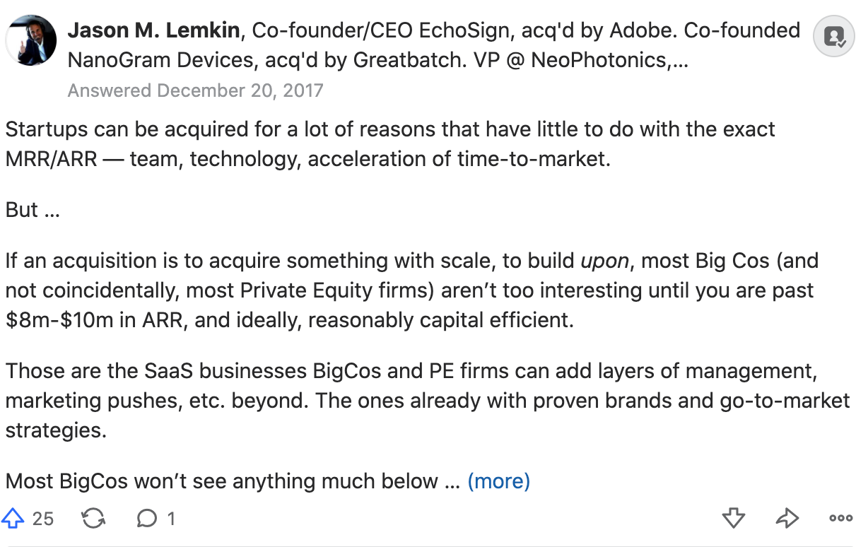 Jason Lemkin on what's a good MRR to be acquired.