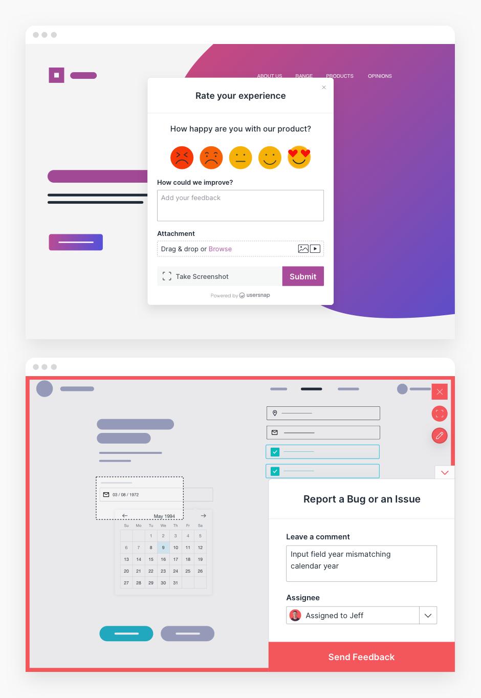 Examples of various customer feedback surveys